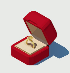 isometric wedding ring in a box vector image