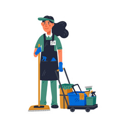 Janitor - female janitor in uniform holding mop vector