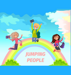 jumping people flat summer concept vector image