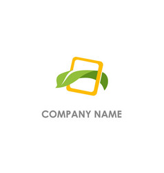 leaf eco nature square logo vector image
