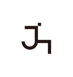 letter jh simple geometric linear logo vector image