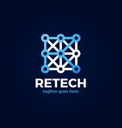 letter r tech logo creative initial r vector image