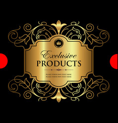 luxury ornamental gold label vector image