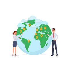 man and woman near globe symbol vector image