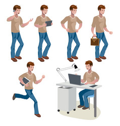 man different poses cute man vector image