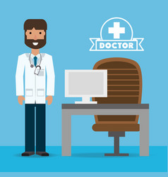 Man doctor with glasses and his consulting room vector