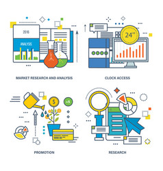 Market research 24 hrs clock access promotion vector