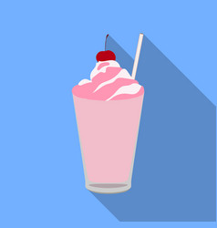Milkshake with cherry on the top icon in flat vector