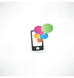 mobile phone with communication bubbles vector image