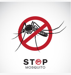 Mosquito in red stop sign on white background vector