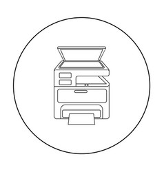 Multi-function printer in outline style isolated vector