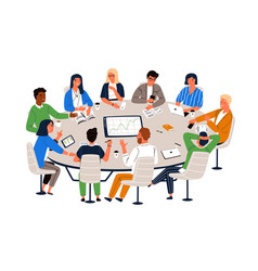 Office workers sitting at round table and vector