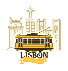 Old lisbon tram and cityscape city portugal vector