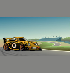old vintage racing car at circuit vector image