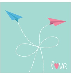 Origami paper plane in the sky with dash line bow vector image