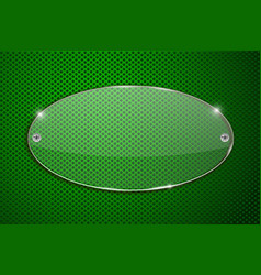 Oval glass transparent plate on green perforated vector