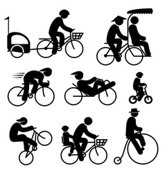 People cyclist icons vector