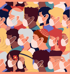 people in mask pattern texture people profiles vector image