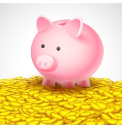 Piggy Bank on heap of gold coin vector image