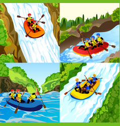 Rafting banner set cartoon style vector