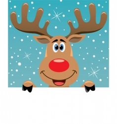 Rudolph deer with blank paper vector