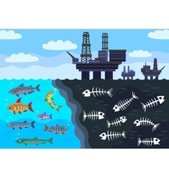 Sea water pollution by oil vector