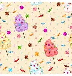 Seamless pattern of sweets cotton candy vector