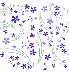 Seamless pattern of wild violets on white vector