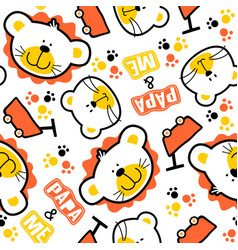 seamless pattern with lion family cartoon vector image