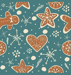 seamless winter pattern with hand drawn cookies vector image