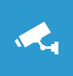 Security camera icon white on the blue background vector