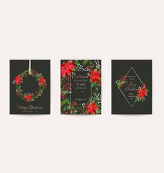 set elegant merry christmas new year vector image