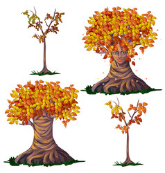 Set fantasy of deciduous trees in the fall vector