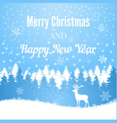 silhouette of christmas deer on winter forest vector image
