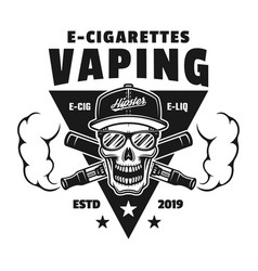 skull and two crossed e-cigarettes emblem vector image