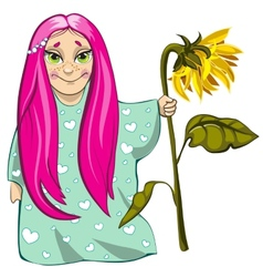 Small girl with sunflower vector