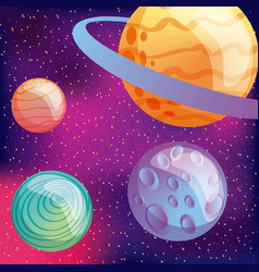 solar system planets moon virtual reality vector image