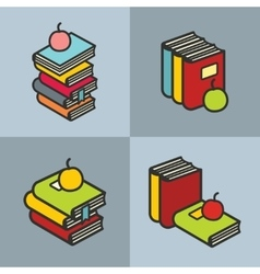 Stack of books with apple in line flat style vector