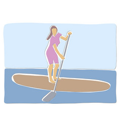 Stand up paddle surfing boarding vector