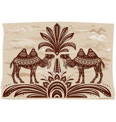 Stylized figures decorative camels vector
