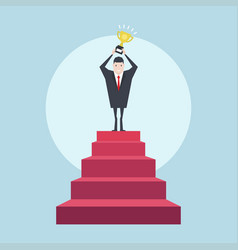 successful businessman on top of the stairs vector image