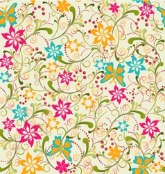 Summer pattern butterfly and flower vector