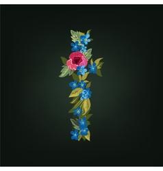 T letter Flower alphabet Colorful font vector