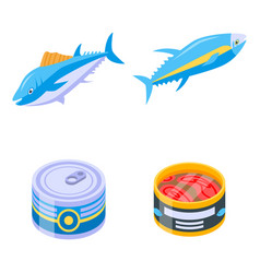 Tuna icons set isometric style vector