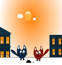 Two cats and mouse vector image