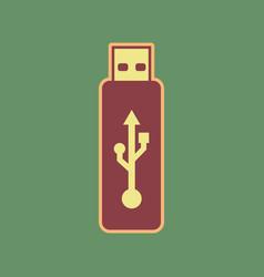 Usb flash drive sign cordovan icon vector