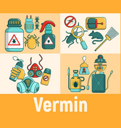 Vermin concept banner cartoon style vector