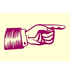 Vintage retro hand with pointing finger vector image
