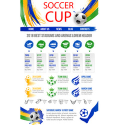 Web site template for soccer cup game vector