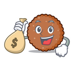 with money bag chocolate biscuit character cartoon vector image